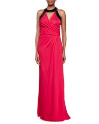 Halston Two Tone Combo Gown Ruby Black