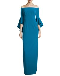 Milly Off The Shoulder Column Gown Azure