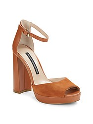 French Connection Suede And Leather Peep Toe Platform Pumps Casa Brown
