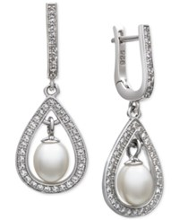 Macy's Cultured Freshwater Pearl 5Mm And White Topaz 2 5 Ct. T.W. Drop Earrings In Sterling Silver