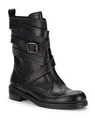 Jimmy Choo Leather Round Toe Ankle Boots Black