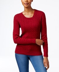 Karen Scott Marled Cable Knit Sweater Only At Macy's New Red Amore Marle