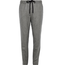 Tomorrowland Slim Fit Wool And Linen Blend Trousers Gray