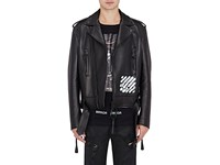 Off White C O Virgil Abloh Men's Spray Painted Leather Biker Jacket Black