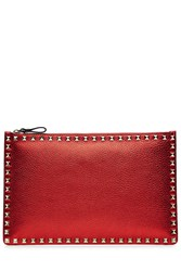 Valentino Large Leather Rockstud Clutch Red