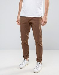 Selected Homme Chinos In Skinny Fit Pine Cone Brown