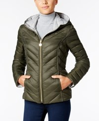 Nautica Reversible Hooded Packable Puffer Coat Only At Macy's Military Green Palladium