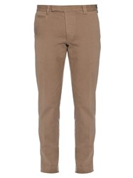 Fendi Slim Fit Cotton Twill Chino Trousers Beige