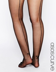 Asos Curve Bow Back Seam Tights With Support Black