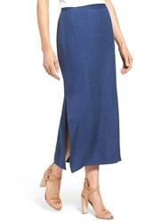 Women's Nordstrom Collection Side Slit Twill Maxi Skirt