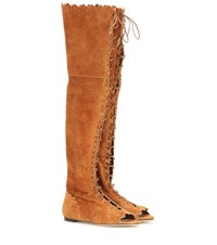 Jimmy Choo Over The Knee Suede Lace Up Boots Brown