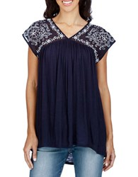 Lucky Brand Embroidered V Neck Cap Sleeve Top American Navy