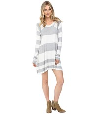 Brigitte Bailey Striped Swing Pullover Light Heather Grey Heather Charcoal Women's Clothing White
