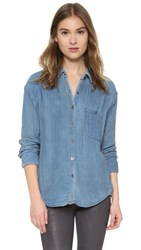 Free People Double Dip Button Down Top Blue Combo