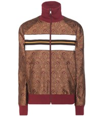 Hillier Bartley Silk Jacquard Bomber Jacket Brown