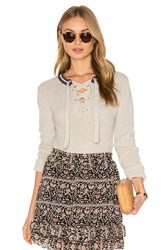 Maison Scotch Lace Up Pull Over Sweater Gray