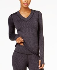 Cuddl Duds Flex Fit Long Sleeve V Neck Black