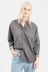 Topshop Batwing Denim Shirt Gray