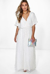 Boohoo Rose All Over Sequin Maxi Dress Ivory
