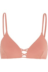 Melissa Odabash Sardinia Lace Up Bikini Top Antique Rose