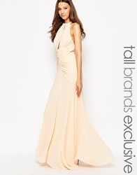 Jarlo Tall Keyhole Halter Maxi Dress With Ruched Detailing Beige