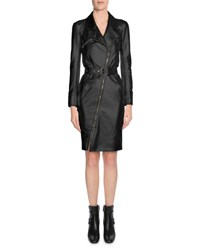 Tom Ford Asymmetric Zip Front Leather Trenchcoat Black
