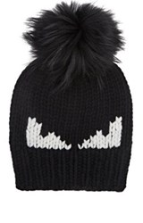 Fendi Men's Rib Knit Wool Hat Black