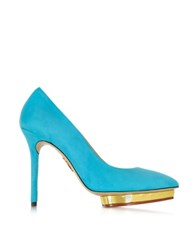 Charlotte Olympia Debbie Swimming Pool Blue Suede Platform Pump Turquoise