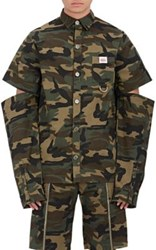 Hood By Air Men's Embroidered Camouflage Semi Attached Sleeve Shirt Green
