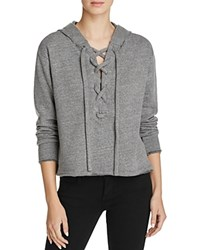 Lna Lace Up Hoodie Heather Grey