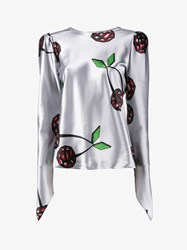 Natasha Zinko Cherry Print Long Sleeve Top Grey Cherry Green Black Red