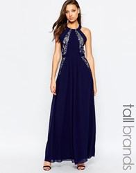 Little Mistress Tall Lace Panel Halter Maxi Dress With Open Back Navy