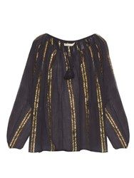 Mes Demoiselles Byzantine Striped Cotton Gauze Top Black Gold