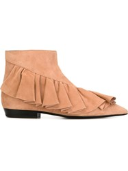 J.W.Anderson J.W. Anderson Frilled Ankle Boots Nude And Neutrals