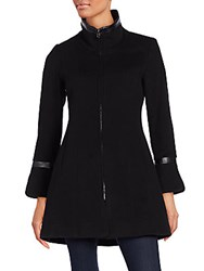 George Simonton Flared Wool And Cashmere Blend Coat Black