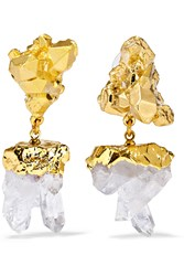 Dara Ettinger Gold Plated Quartz Earrings Metallic