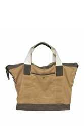 Maker And Company Canvas And Leather Tote Bag Beige