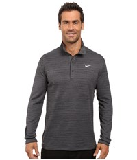 Nike Tiger Woods Heather Long Sleeve Polo Dark Grey Black Reflective Silver Men's Long Sleeve Pullover