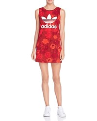 Adidas Originals Floral Print Logo Tank Dress Multi