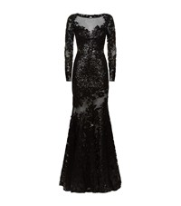 Jovani Sequin Floral Fishtail Gown Female Black