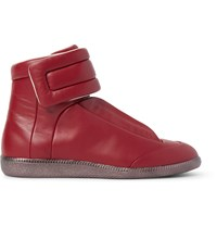 Maison Martin Margiela Future Leather High Top Sneakers Burgundy