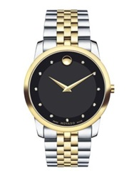 Movado Museum Classic Two Tone Stainless Steel Diamond Bracelet Watch Silver Gold
