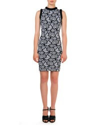 Christopher Kane Sleeveless Floral Pattern Intarsia Sheath Dress Black White