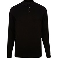 River Island Mens Black Long Sleeve Polo Shirt
