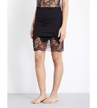 Else Yasmine Stretch Silk And Lace Skirt Black