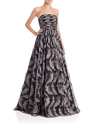 David Meister Strapless Feather Tulle Gown Silver Black