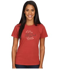 Life Is Good Cat Crusher Tee Rustic Red Women's T Shirt Orange