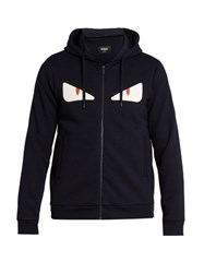 Fendi Hooded Bag Bugs Applique Zip Through Sweatshirt Navy