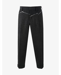 Kolor Wool Blend Paneled Cropped Trousers Charcoal Metallic Silver Natural White