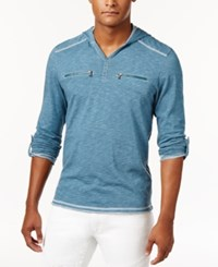 Inc International Concepts Men's Heathered Henley Hoodie Only At Macy's Mallard